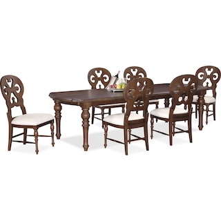 Charleston Rectangular Dining Table and 6 Scroll-Back Side Chairs - Tobacco