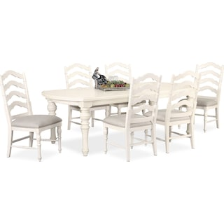 Charleston Rectangular Dining Table and 6 Side Chairs - White