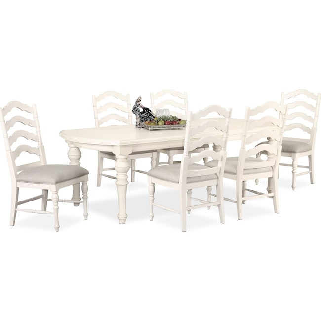 Dining Room Furniture - Charleston Rectangular Dining Table and 6 Side Chairs - White