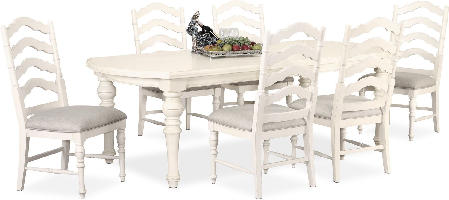 Charleston Rectangular Dining Table And 6 Side Chairs   White