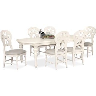 Charleston Rectangular Dining Table and 6 Scroll-Back Side Chairs - White