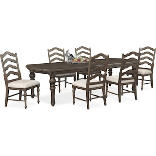 Charleston Rectangular Dining Table and 6 Side Chairs - Gray