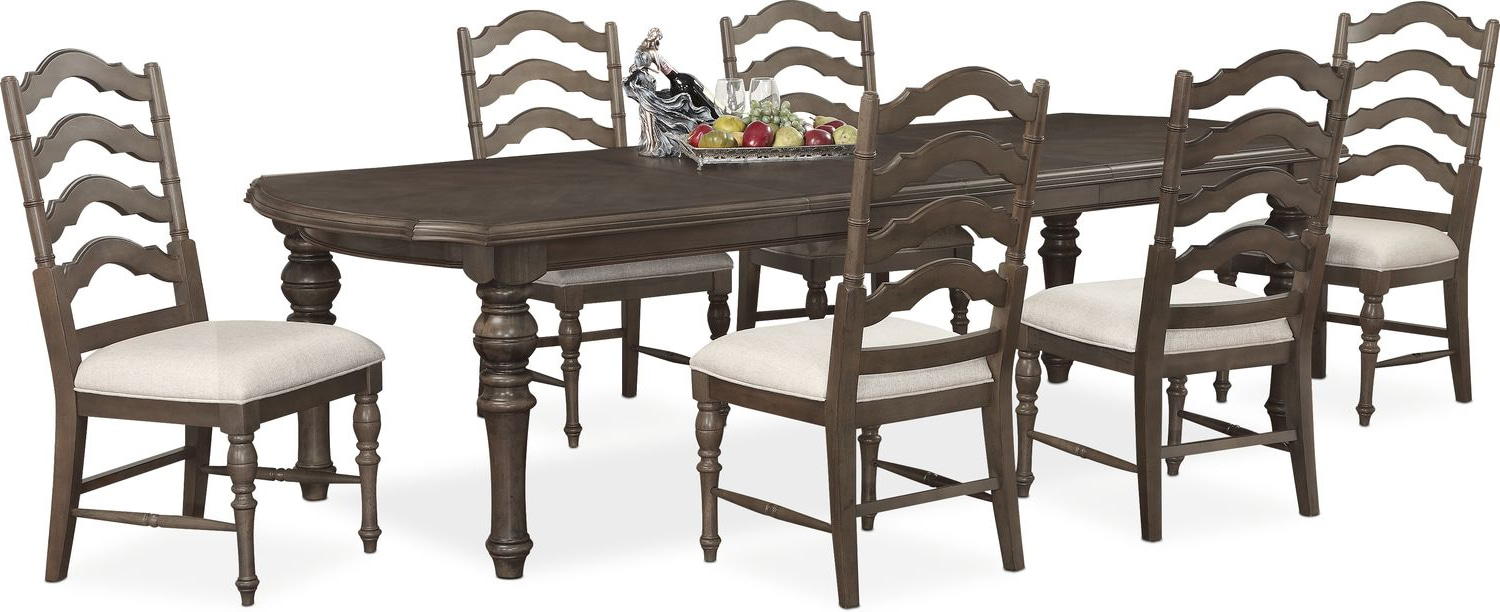 Charleston Rectangular Dining Table And 6 Side Chairs   Gray