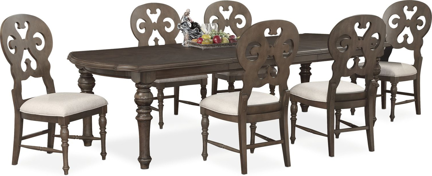 Charleston Rectangular Dining Table and 6 Scroll-Back Side Chairs ...