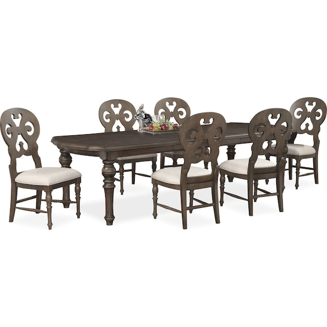 Dining Room Furniture - Charleston Rectangular Dining Table and 6 Scroll-Back Side Chairs - Gray