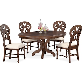 Charleston Round Dining Table and 4 Scroll-Back Side Chairs - Tobacco