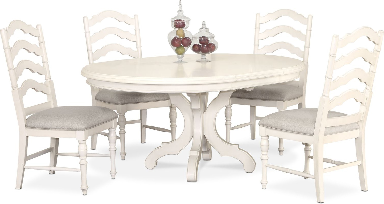 Charleston Round Dining Table And 4 Side Chairs   White