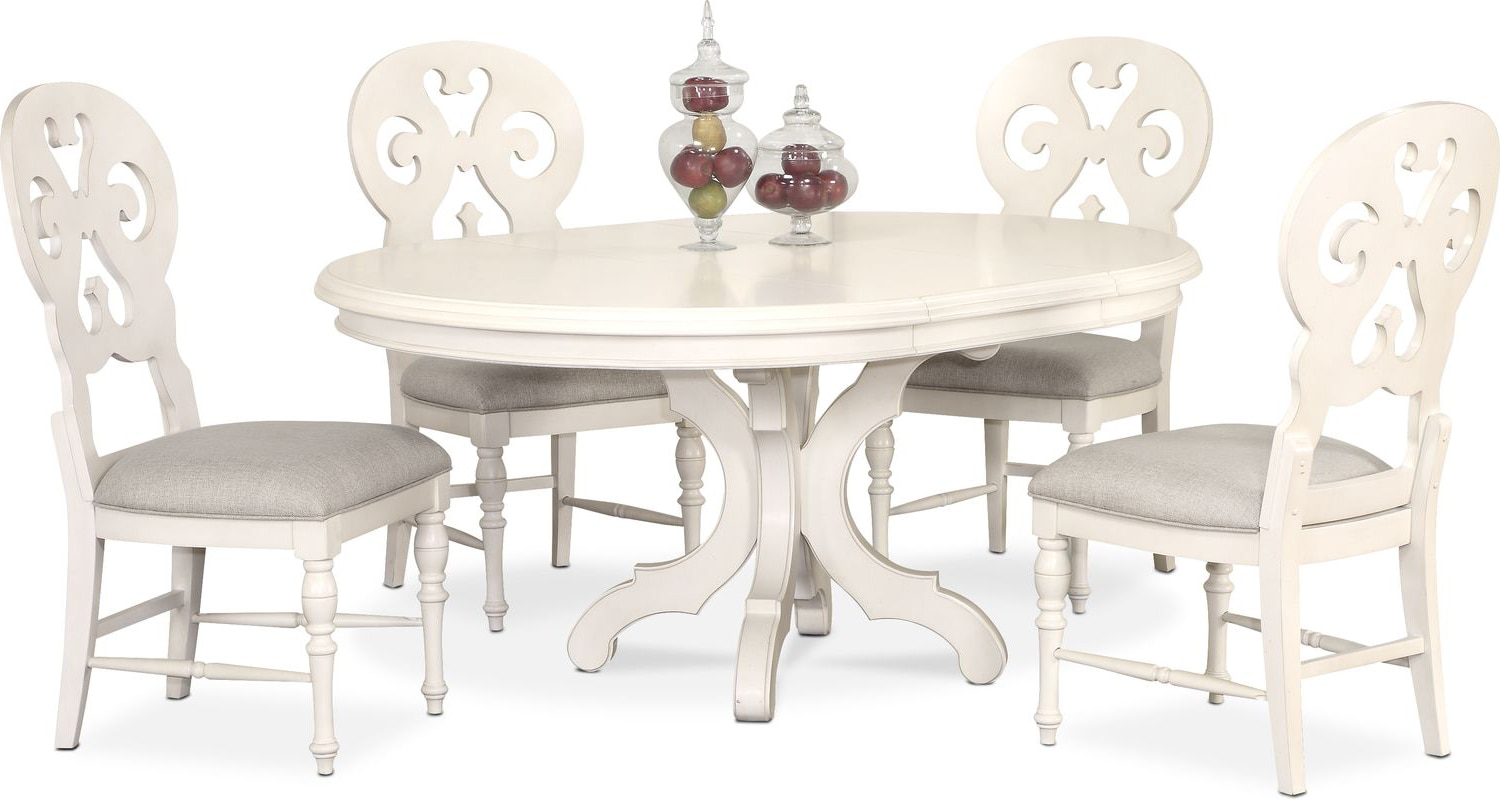 Charleston Round Dining Table And 4 Scroll Back Side Chairs White