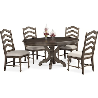 Charleston Round Dining Table and 4 Side Chairs - Gray