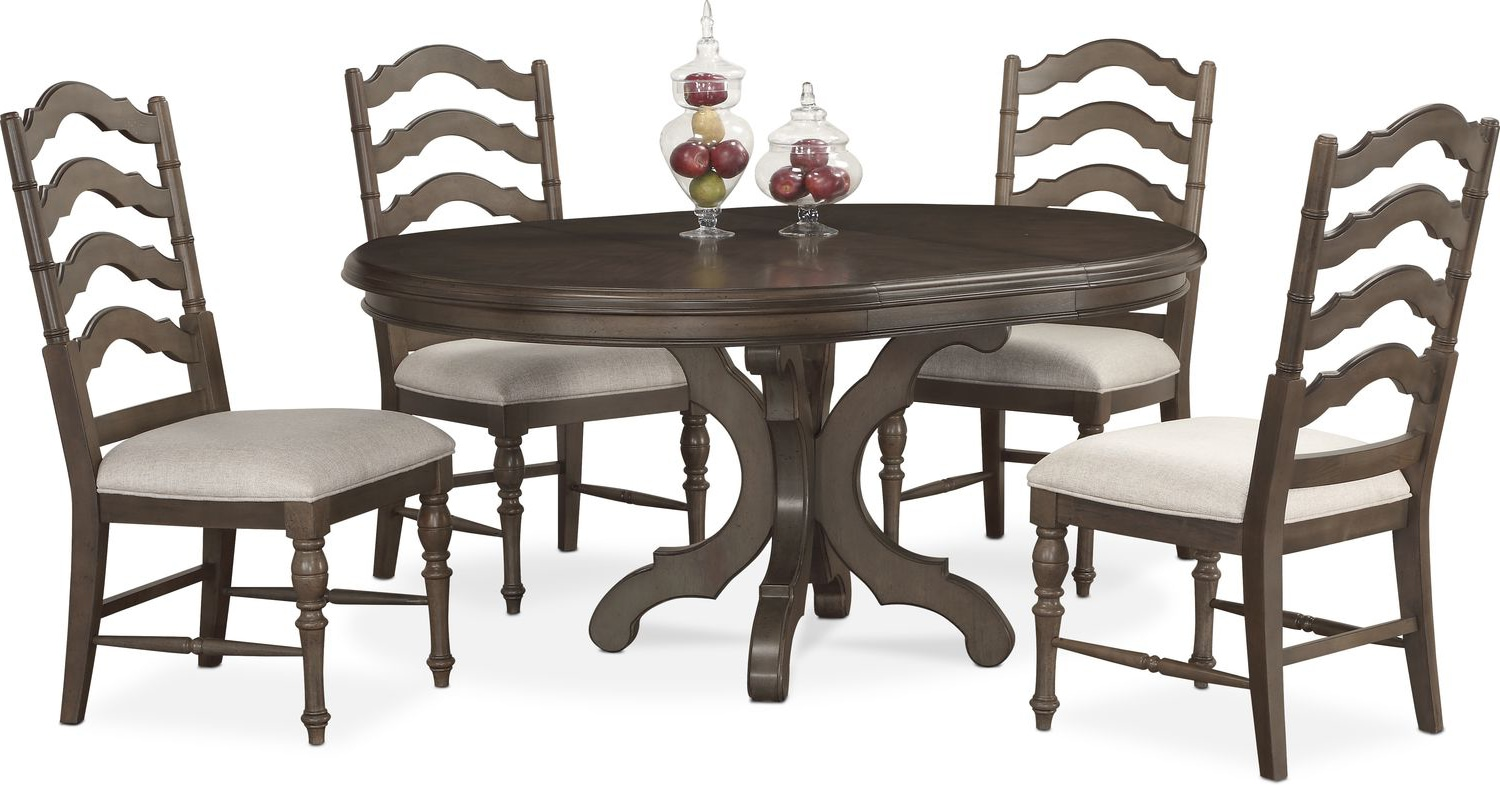 Charleston Round Dining Table And 4 Side Chairs   Gray