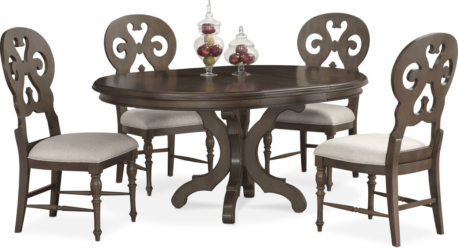 charleston round dining table and 4 scroll back side chairs gray american signature furniture. Black Bedroom Furniture Sets. Home Design Ideas