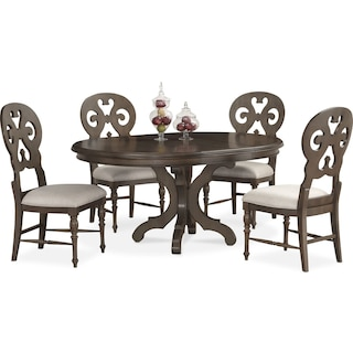 Charleston Round Dining Table and 4 Scroll-Back Side Chairs - Gray