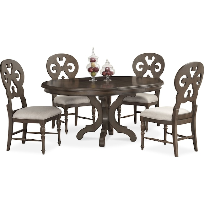 Dining Room Furniture - Charleston Round Dining Table and 4 Scroll-Back Side Chairs - Gray