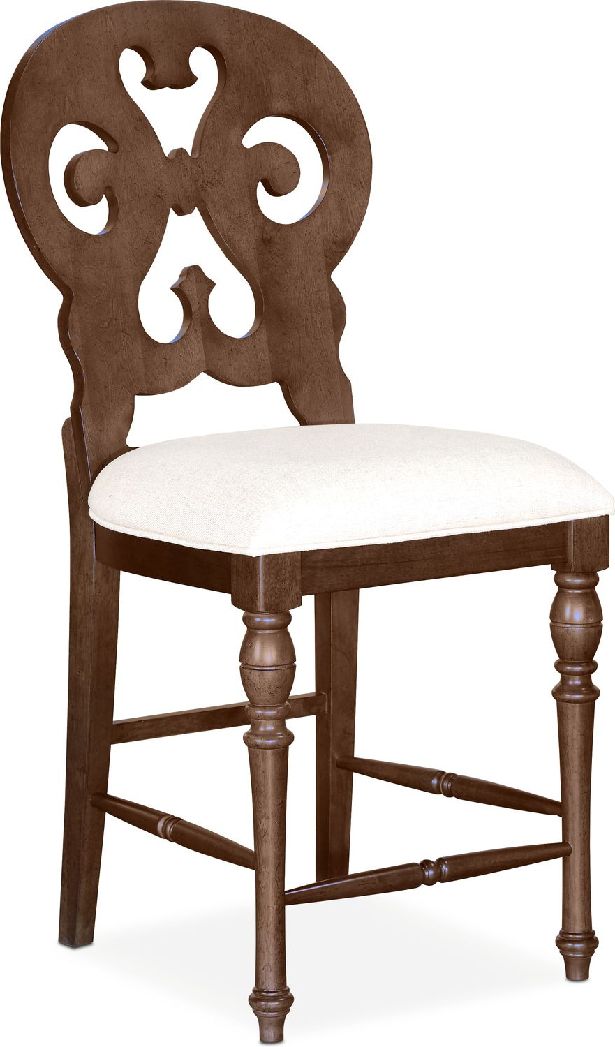 Charleston Counter Height Scroll Back Stool Tobacco