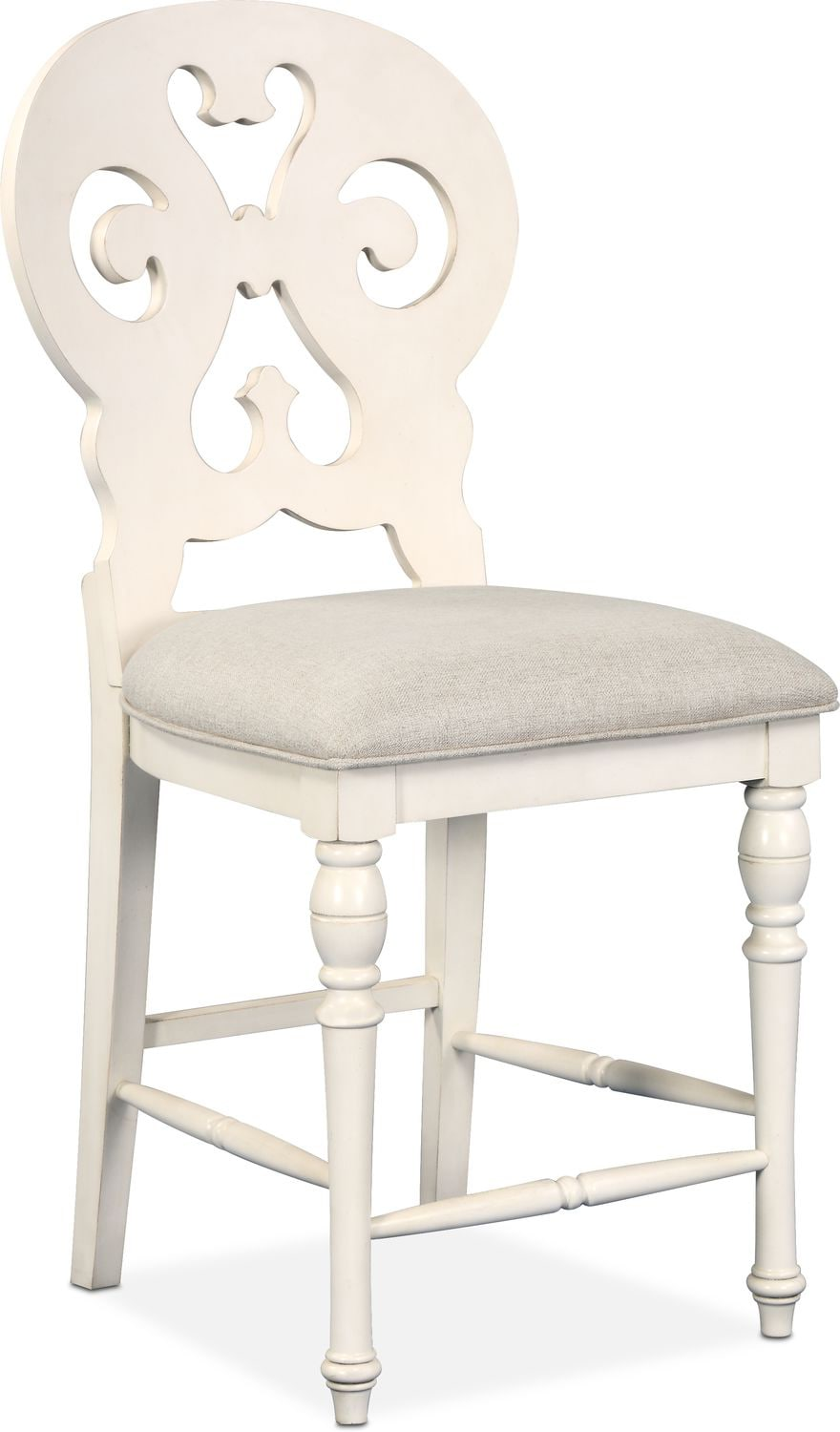 Dining Room Furniture - Charleston Counter-Height Scroll-Back Stool - White