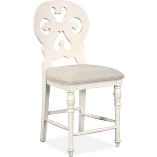 Charleston Counter-Height Scroll-Back Stool - White