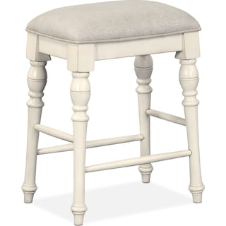 Charleston Counter-Height Backless Stool - White