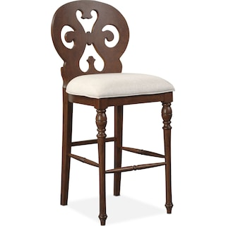 Charleston Scroll-Back Barstool - Tobacco