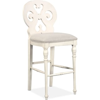 Charleston Scroll-Back Barstool - White