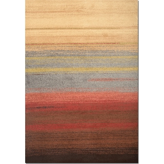 Ava 5' x 8' Area Rug - Brown, Red and Blue
