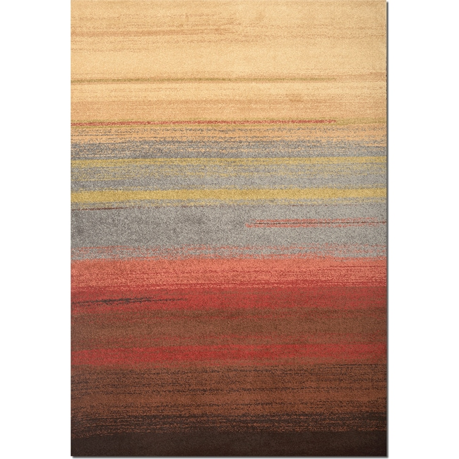 Rugs - Ava 5' x 8' Area Rug - Brown, Red and Blue