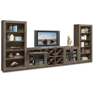 Malibu 5-Piece Entertainment Wall Unit - Gray