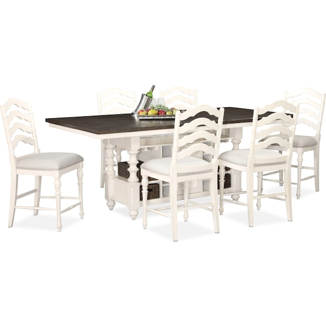 Dining Room Furniture - Charleston Counter-Height Kitchen Island and 6 Stools - White