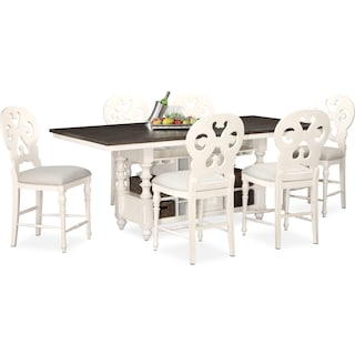 Charleston Counter-Height Kitchen Island and 6 Scroll-Back Stools - White
