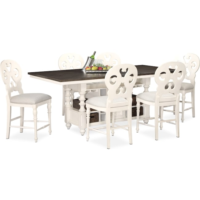 Dining Room Furniture - Charleston Counter-Height Dining Table and 6 Scroll-Back Stools - White