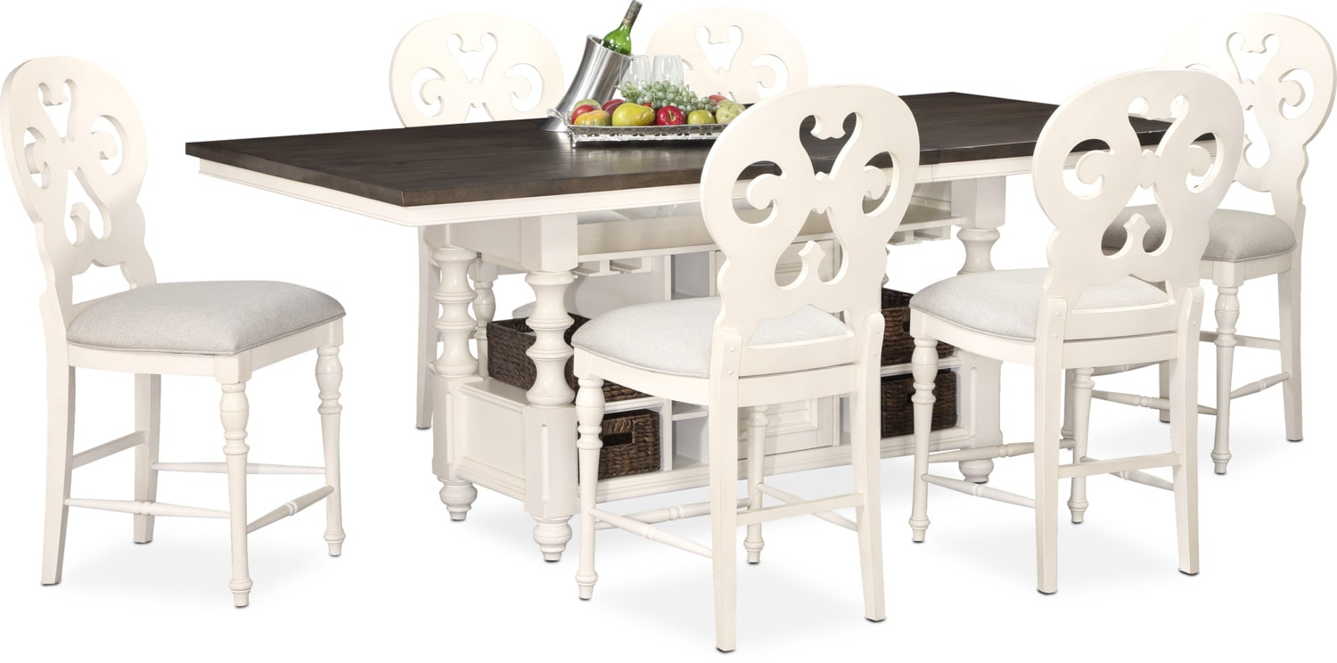 charleston dining table and 6 scrollback stools white