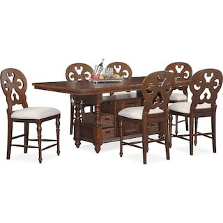 Charleston Counter-Height Dining Table and 6 Scroll-Back Stools - Tobacco