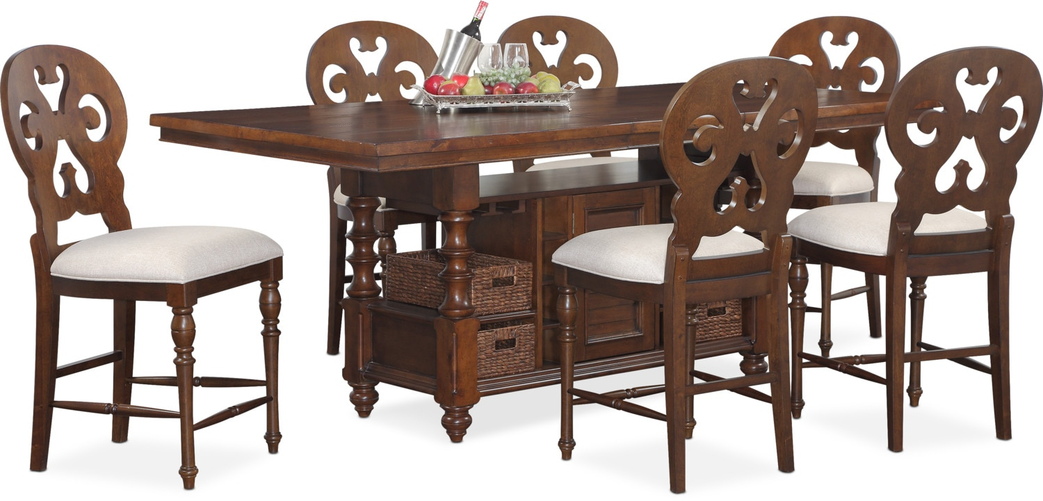 Charleston Counter Height Dining Table And 6 Scroll Back Stools   Tobacco