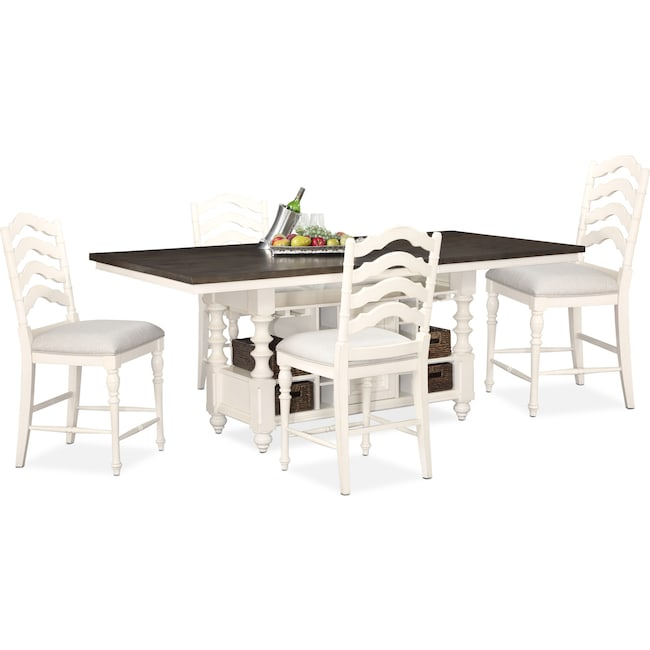 Dining Room Furniture - Charleston Counter-Height Dining Table and 4 Stools - White