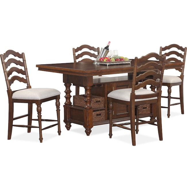 Dining Room Furniture - Charleston Counter-Height Dining Table and 4 Stools - Tobacco