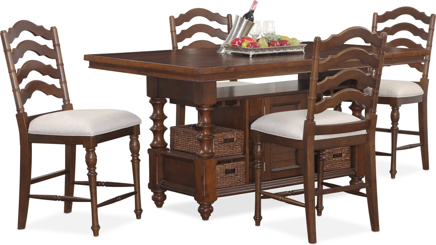 Charleston Counter Height Dining Table And 4 Stools   Tobacco