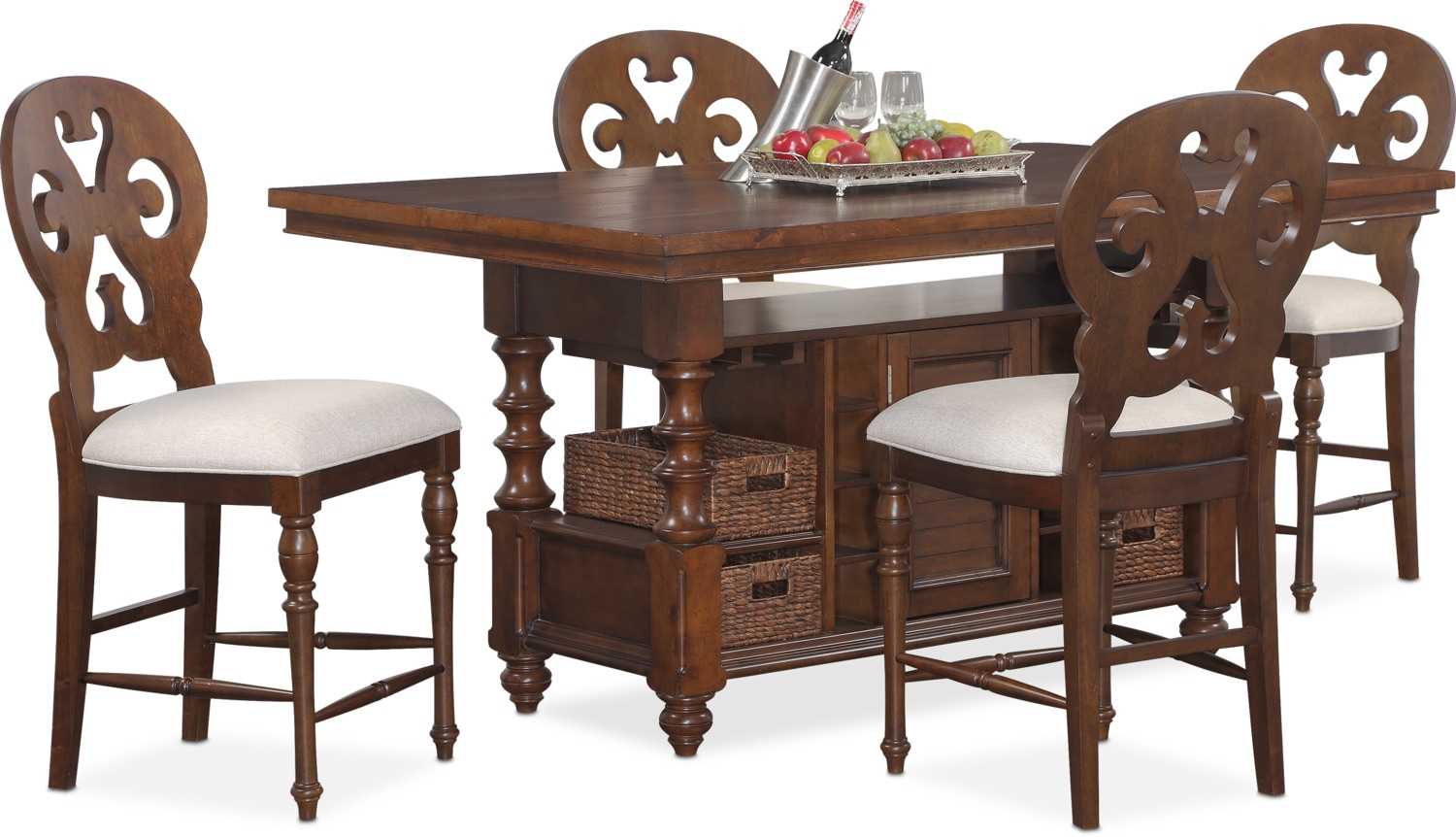 Charleston Counter Height Dining Table And 4 Scroll Back