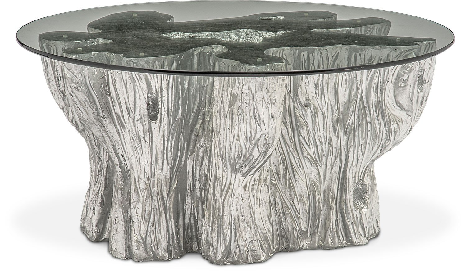 Natura cocktail table silver american signature furniture for Silver tree trunk coffee table