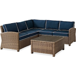 Destin 3-Piece Outdoor Sectional and Coffee Table Set - Blue