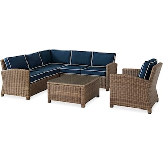 Destin 3-Piece Outdoor Sectional, Chair and Cocktail Table Set - Blue