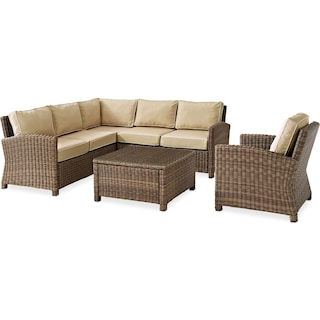 Destin 3-Piece Outdoor Sectional, Chair and Cocktail Table Set - Sand