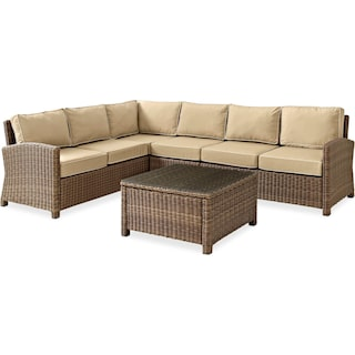 Destin 4-Piece Outdoor Sectional and Coffee Table Set - Sand