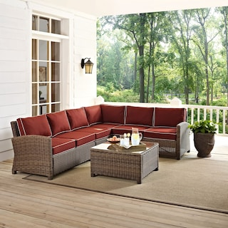 Destin 4-Piece Outdoor Sectional and Coffee Table Set - Sangria