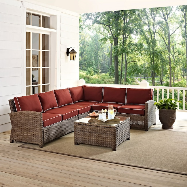 Outdoor Furniture - Destin 4-Piece Outdoor Sectional and Coffee Table Set