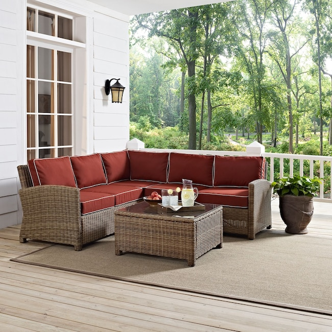 Outdoor Furniture - Destin 3-Piece Outdoor Sectional and Coffee Table Set