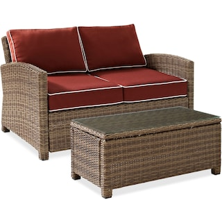 Destin Outdoor Loveseat and Cocktail Table Set - Sangria