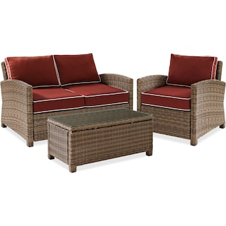 Destin Outdoor Loveseat, Chair and Cocktail Table Set - Sangria