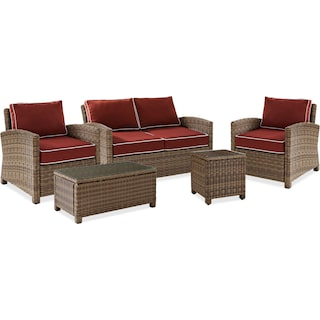 Destin Outdoor Loveseat, 2 Chairs, Cocktail Table and End Table Set - Sangria
