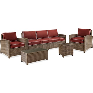 Destin Outdoor Sofa, 2 Chairs, Coffee Table and End Table Set - Sangria