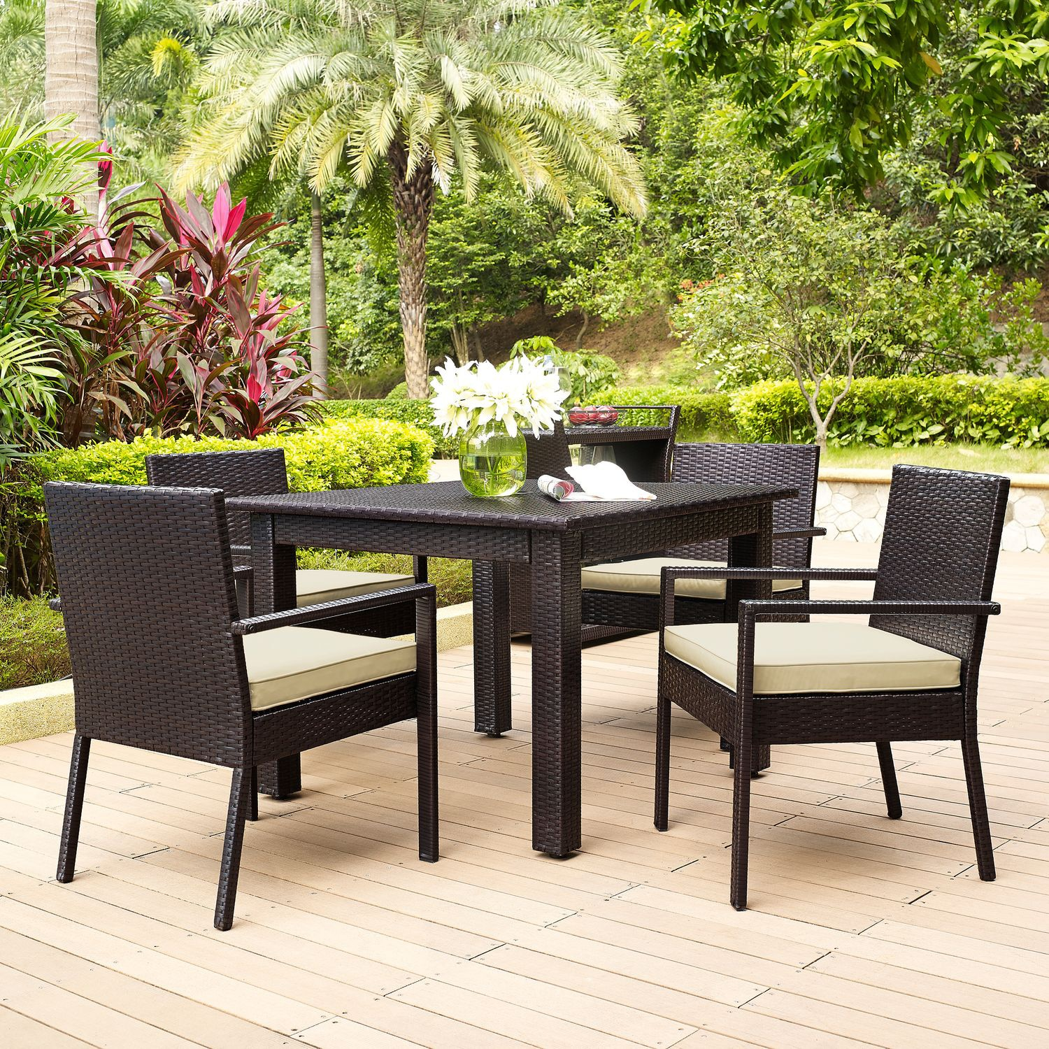 Aldo Outdoor Table And 4 Arm Chairs Set Brown American