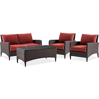 Corona Outdoor Loveseat, 2 Chairs and Cocktail Table Set - Sangria